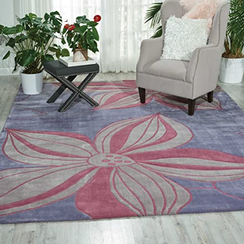 Nourison Contour Violet Rectangle Area Rug, 8-Feet by 10-Feet 6-Inches 8 x 10 6