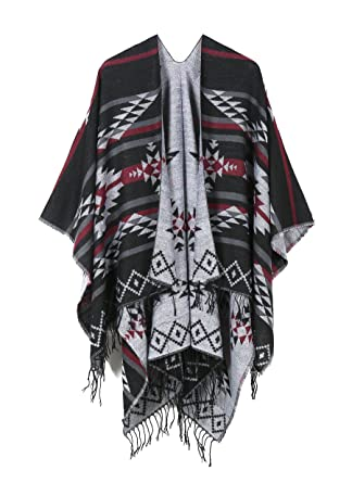 603a0afcd68 JURUAA Fringe Fleece Shoulder Wrap Batwing Blanket Sweater Cape Shawl Black