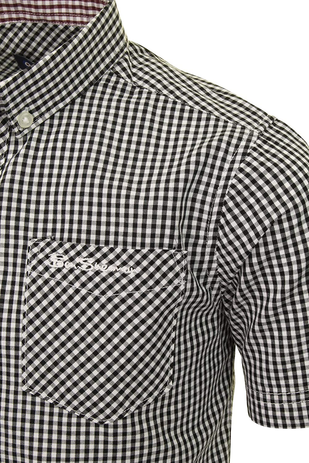 Ben Sherman Boys Short Sleeved Shirt Black Gingham Ages 7 Years up to 15 Years