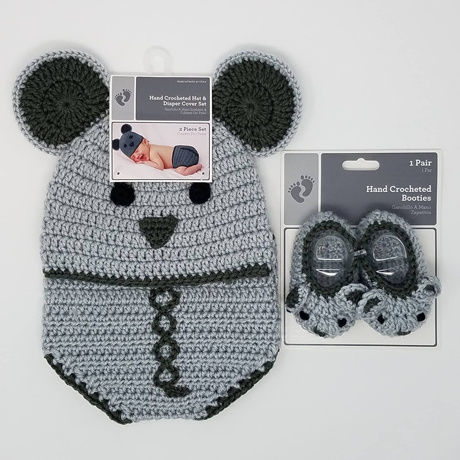 Hand Crocheted Mouse Hat Diaper Cover Set 0 9 Months With Bonus