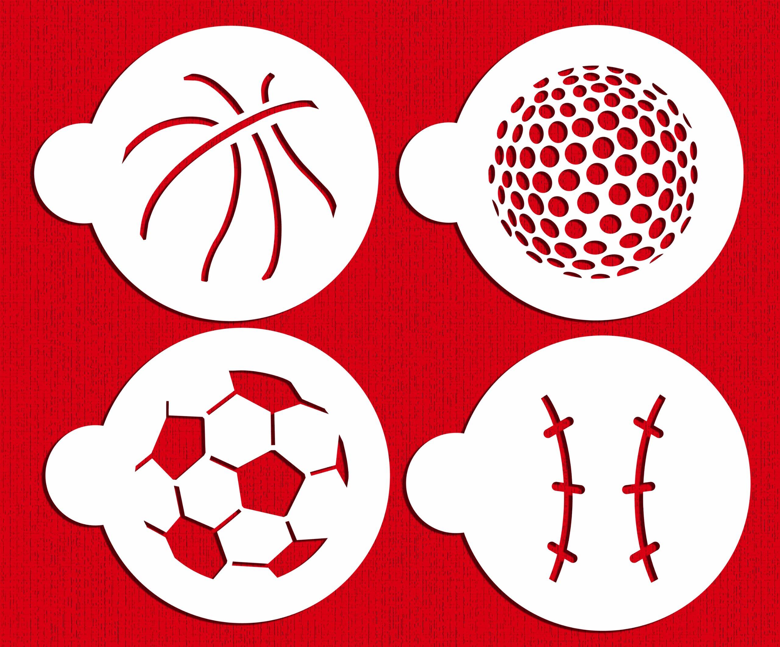 Designer Stencils C218 Large Sports Ball Cookie Stencils (Basketball - Golf - Soccer - Baseball), Beige/semi-transparent by Designer Stencils