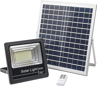 Foco Solar LED 80W, Luces Solares Jardín Luz Blanco-Neutro 4000K, Lámpara Solar Hasta 15 HORAS de Luz, Iluminación Solar 3000 LM, Aplique Solar 120 LEDS: Amazon.es: Iluminación