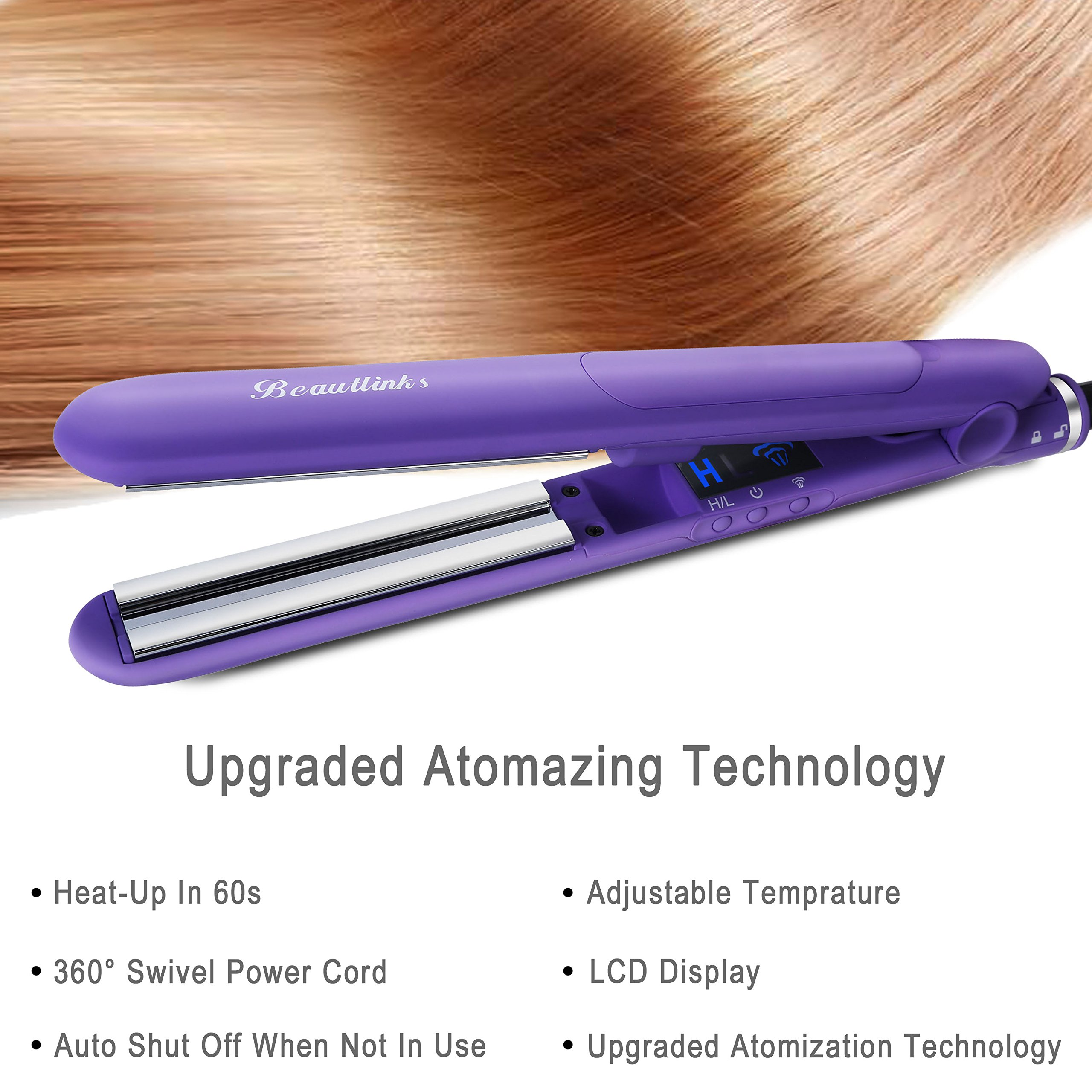 Steam Hair Straightener Flat Iron Professional Ceramic Tourmaline Ionic Auto Shut Off