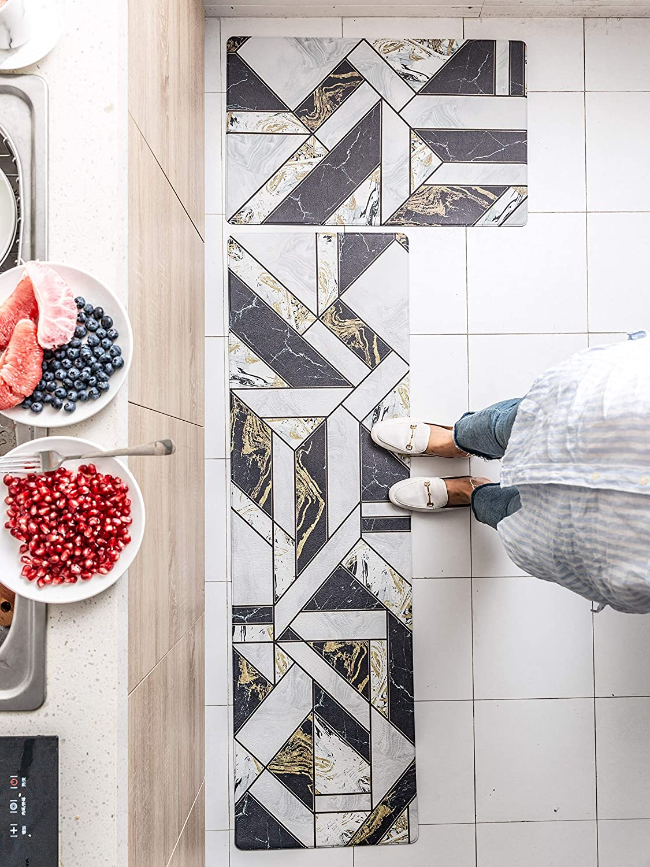 "2 Piece Nonslip AntiFatigue Kitchen Mat –(17.7"" x 29.5""+17.7"" x 59"") Soft Non Skid Throw Rugs Runner Carpet for Kitchen Hallway Entryway Bedroom– Oil Resistant Long Kitchen(Luxury Feast)"