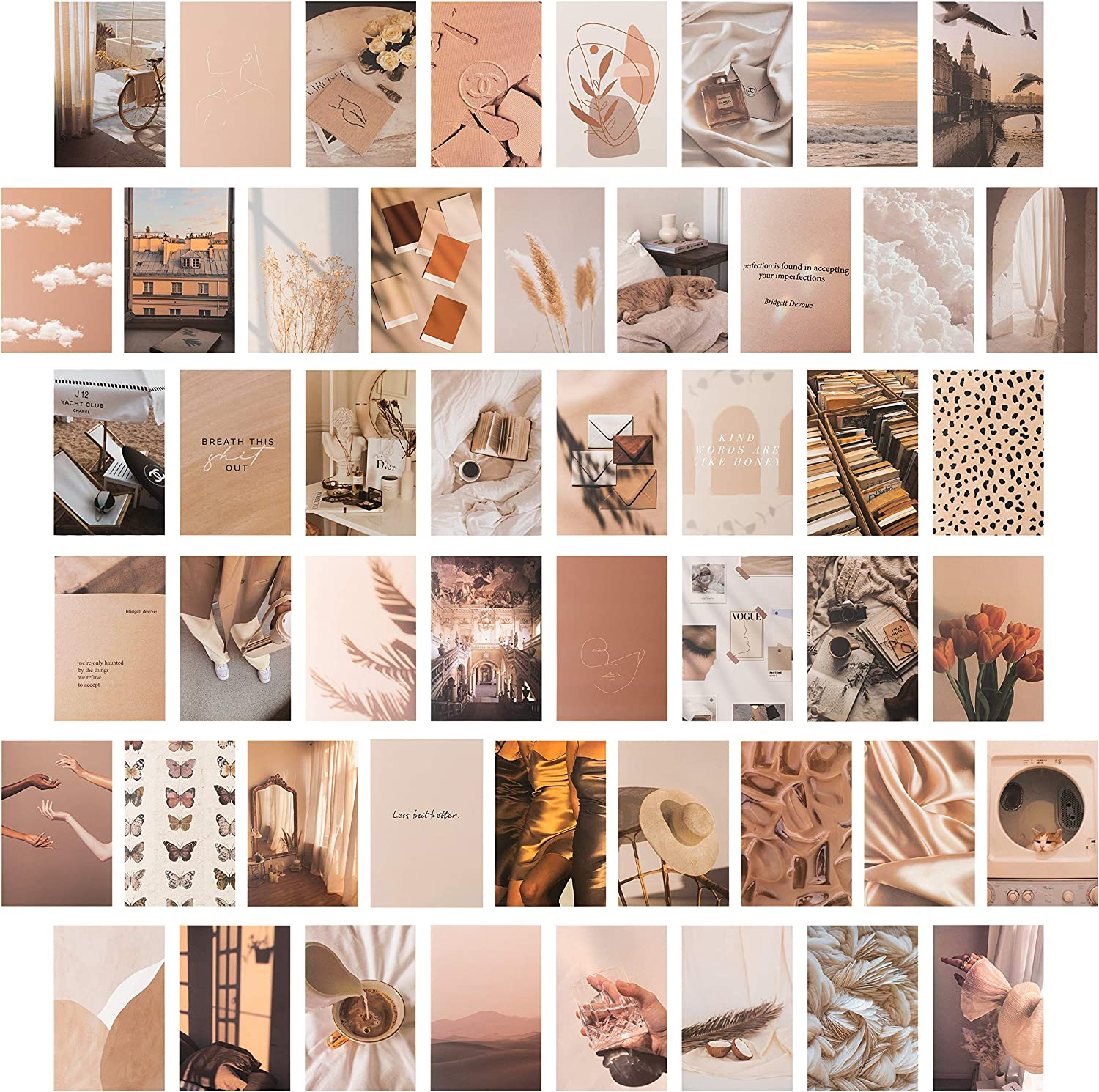 CY2SIDE 50PCS Beige Aesthetic Picture for Wall Collage, 50 Set 4x6 inch, Cream Collage Print Kit, Warm Color Room Decor for Girls, Wall Art Print for Room, Dorm Photo Display, VSCO Poster for Bedroom