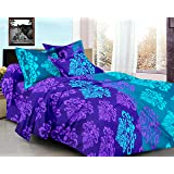Ahmedabad Cotton Basics 136 TC Cotton Double Bedsheet with 2 Pillow Covers - Purple