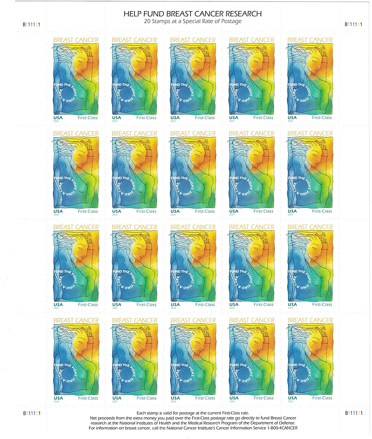 Sheet of 20 Semipostal Stamps USPS Breast Cancer Research Forever Stamps