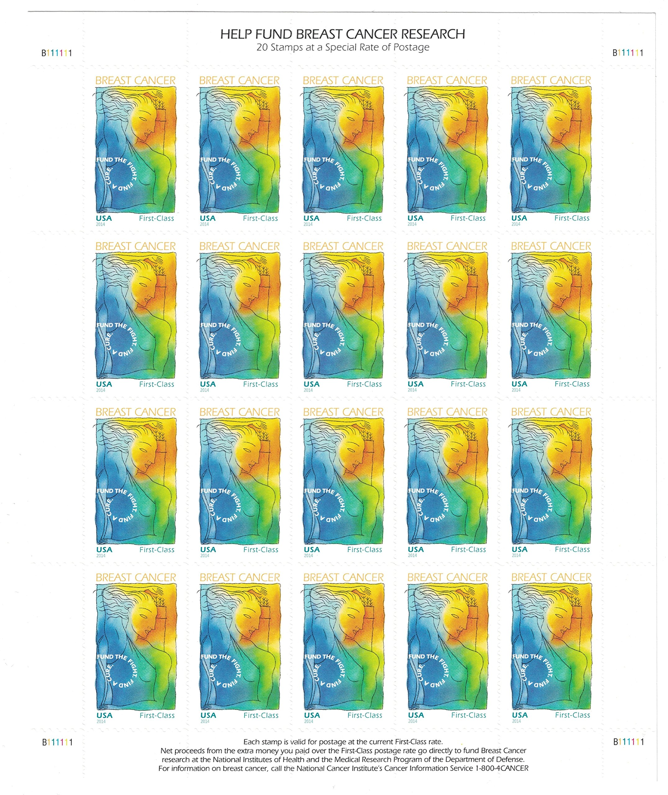 USPS Breast Cancer Research Forever Stamps - Sheet of 20 Semipostal Stamps