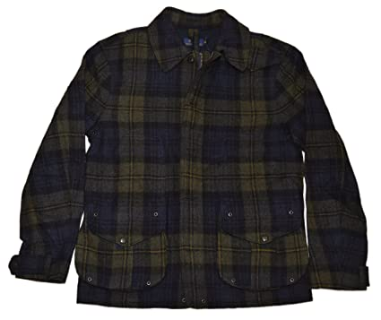 22c1ad2b4 Image Unavailable. Image not available for. Color  Ralph Lauren Polo Mens  Wool Zip Field Cargo Jacket Coat Navy Green Plaid Medium
