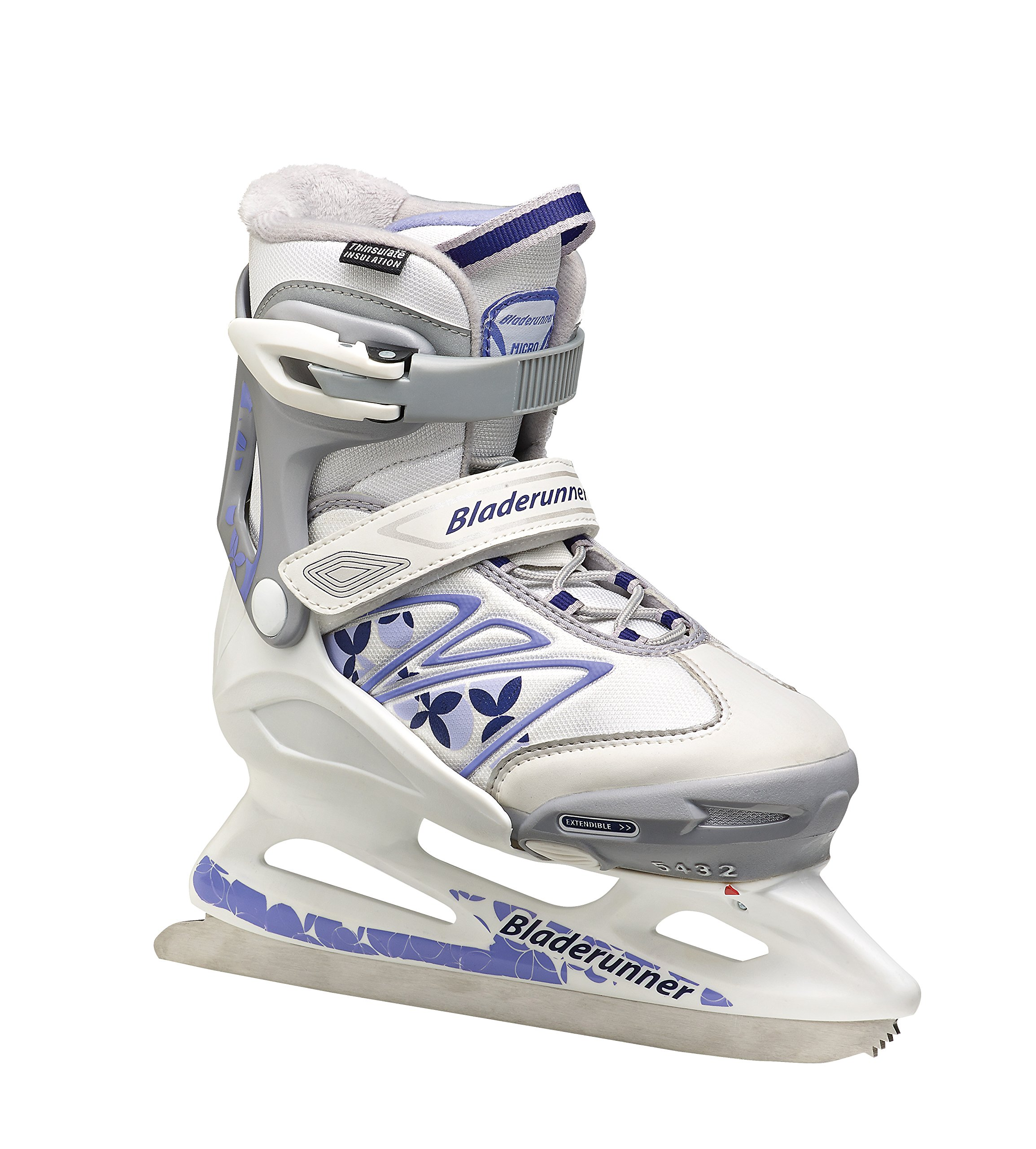 Bladerunner Youth Ice Micro XT G Skate, Size 5-8, White/Purple