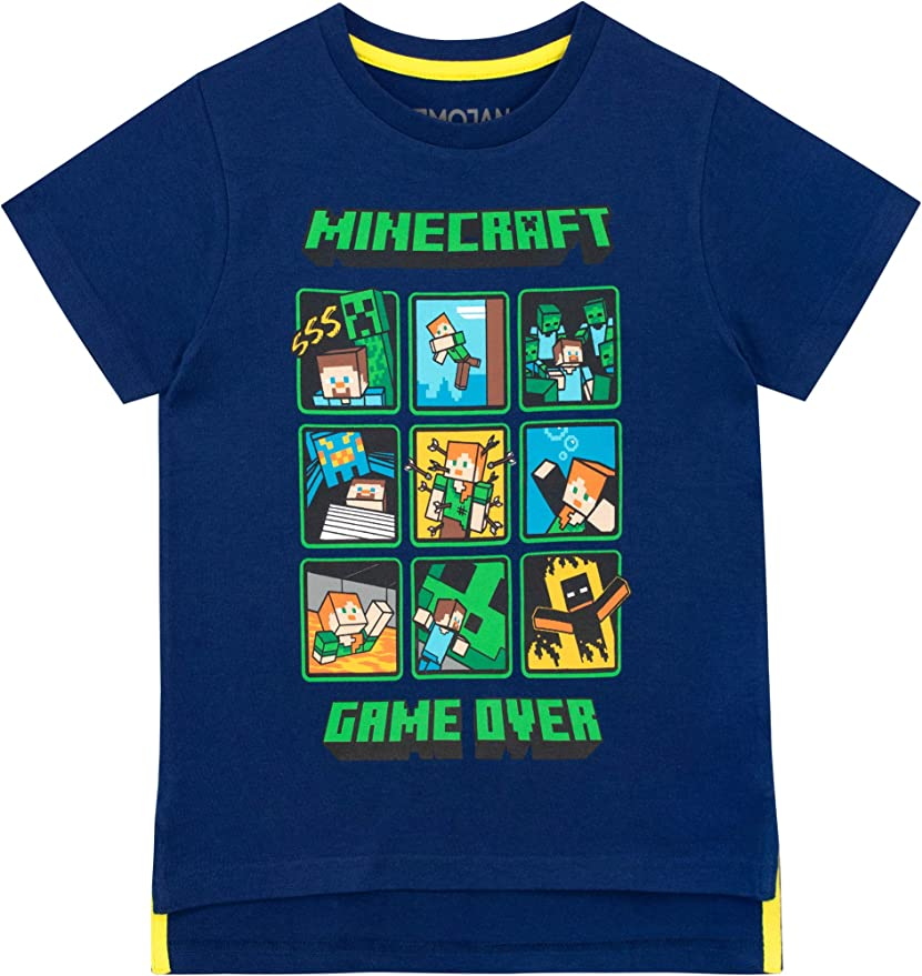 Minecraft Sprites Boys T-Shirt Black Blue Purple Green White