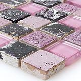 Glas Naturstein Resin Mosaik Pink Mix