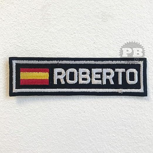 Parche bordado con la bandera de España con la insignia Roberto para planchar sobre coser: Amazon.es: Hogar