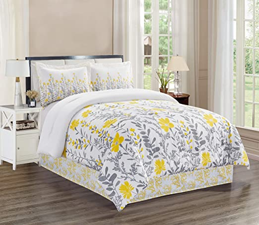 Amazon.com: GrandLinen 4 Piece King Size Fine Printed Comforter