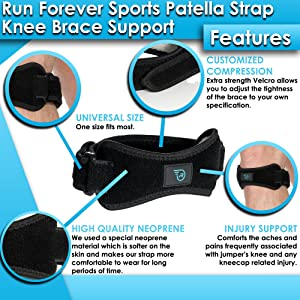 Patella Strap Knee Brace Support for Arthritis, ACL, Running, Basketball, Meniscus Tear, Sports, Athletic. Best Knee Brace for Hiking, Soccer, Volleyball & Squats (1 Pack) (Color: Black, Tamaño: Med - 1 Pack)