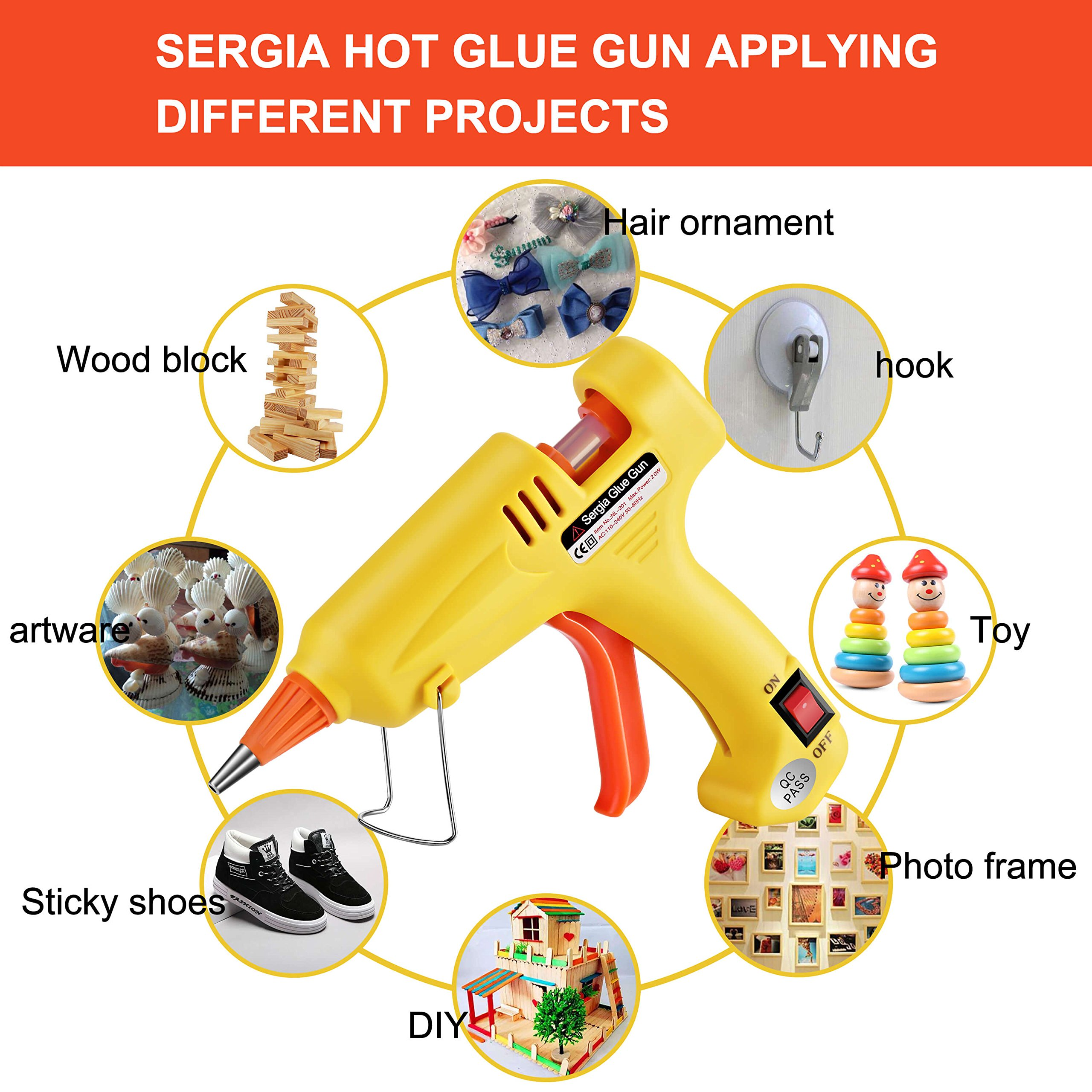 Hot Glue Gun Kit with 20 Pcs Glue Sticks, Mouse Pad, Anti-Hot Cover,Portable case for DIY Small Projects, Craft and Arts & Home Or School Quick Repair Sealing Use, Christmas Decoration/Gift (20 Watt) by SERGIA (Image #6)