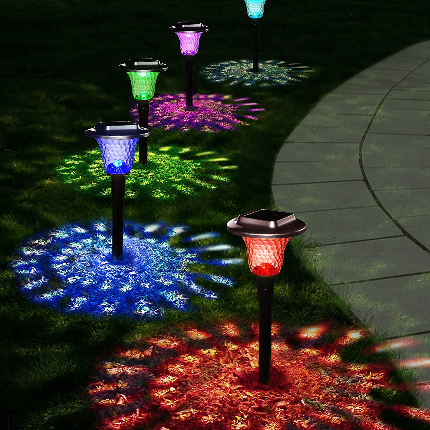 Flykul Solar Lights Outdoor, 6 Pack Auto Color Changing Solar Pathway Colorful Bright Glass Garden Lights,Waterproof Solar Powered Landscape Lights for Lawn Patio Courtyard Walkway Yard (Warm White)