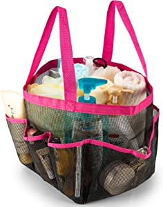 iPEGTOP Portable Mesh Shower Caddy, Quick Dry Shower Tote Hanging Bath & Toiletry Organizer Bag with 9 Storage Pockets, Double Handles for College Dorm, Travel, Gym & Camping, Pink