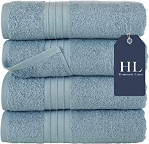 Hammam Linen Bath Towels Set, Light Blue- Luxurious 100% Ring Spun Cotton - Quick Dry, Highly Absorbent, Soft Feel Towels, Perfect for Daily Use (4-Pack)