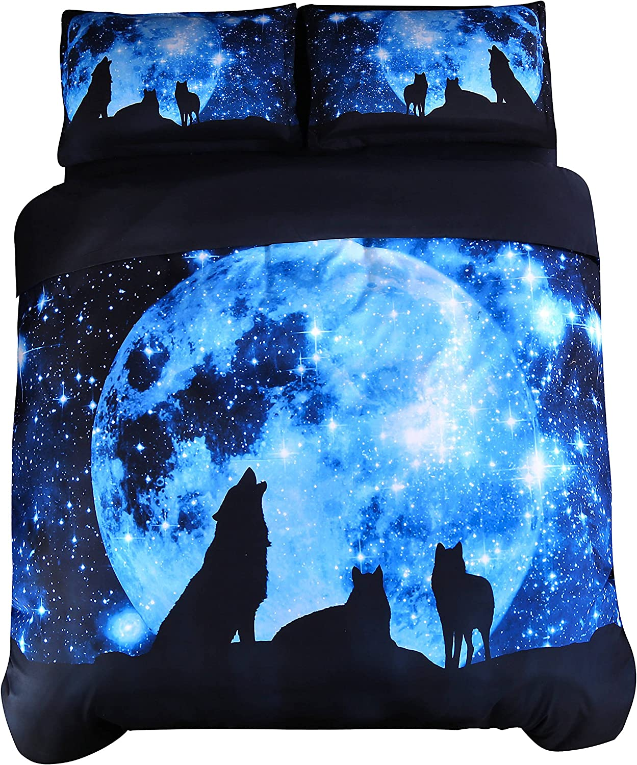 Amazon Com Wowelife 3d Galaxy Wolf Bedding Kids Wolf Bed Set Twin Blue Moonlight 4 Pieces With 1 Duvet Cover 1 Flat Sheet And 2 Pillow Cases Comforter And Fitted Sheet Not Included Queen Home