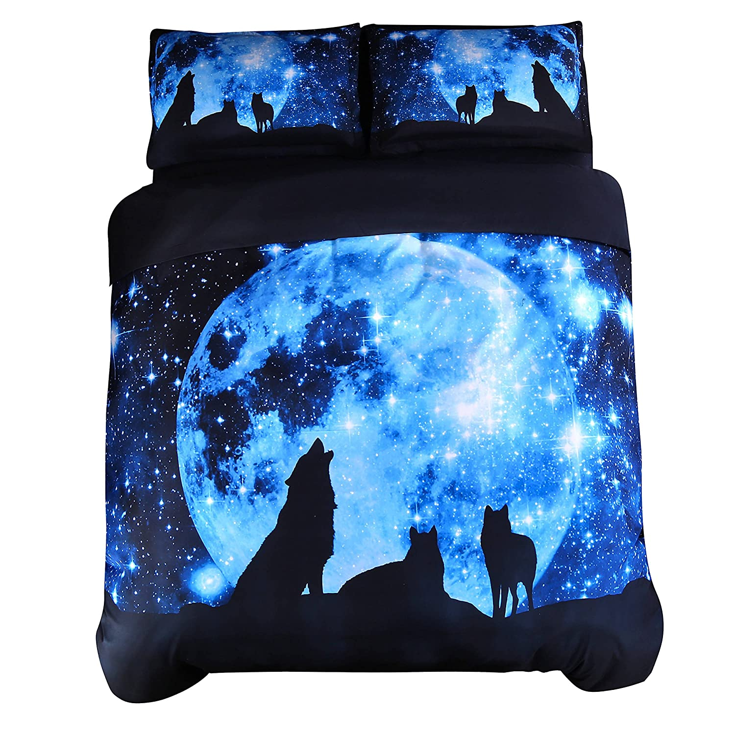 Ammybeddings 5 Piece Soft 3D Bedding Sets, Twin Size, 3D Luxury Blue Wolf and Galaxy Comforter Cover Set,1 Black Bed Sheet,1 Quilt/Duvet Cover, 1 White Comforter and 2 Pillow Shams Included