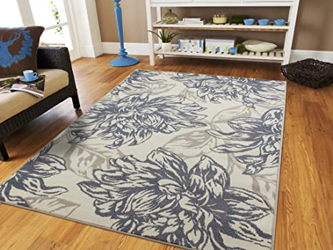 Century Home Goods Collection Luxury Gray Black Ivory Area Rug Modern Abstract 5x7 Flowers Leaf Pattern 5x8 Rugs Western Style Clearance