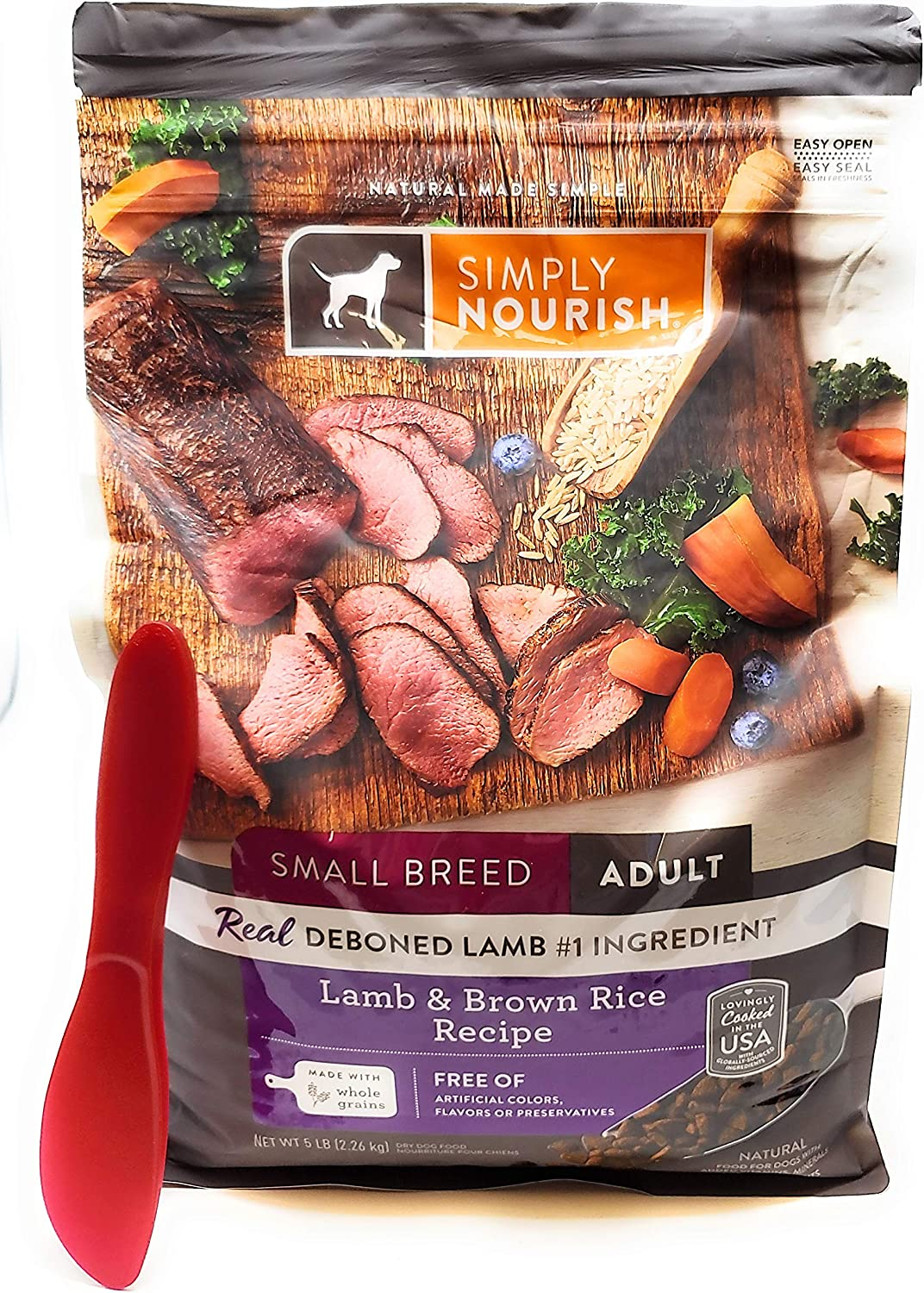 SIMPLY NOURISH Small Breed Adult Dry Dog Food - Lamb and Brown Rice, 5 pounds and Especiales Cosas Mixing Spatula