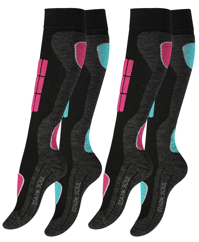 VCA 4 Paar Damen SKI Funktionssocken, Skisocken mit Spezialpolsterung