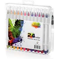 Watercolor Brush Pen 24 Colors By Positive Art: 24 Colors And 1 Free Water Coloring Brush With Flexible Tip For Precision For Adult Crafts Manga Comic And Calligraphy Odorless And Non-Toxic