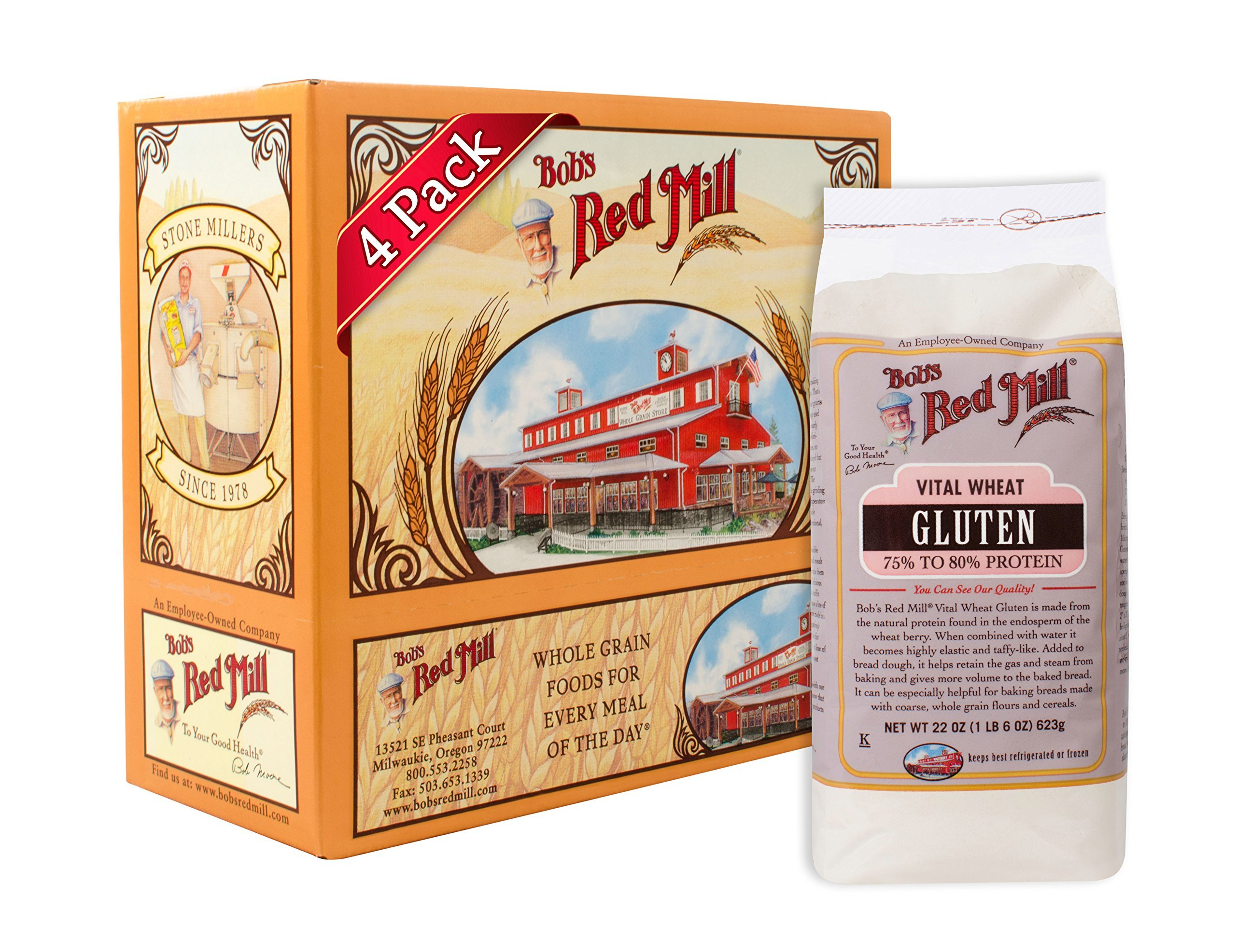 Bob's Red Mill Vital Wheat Gluten Flour, 22-ounce (Pack of 4)