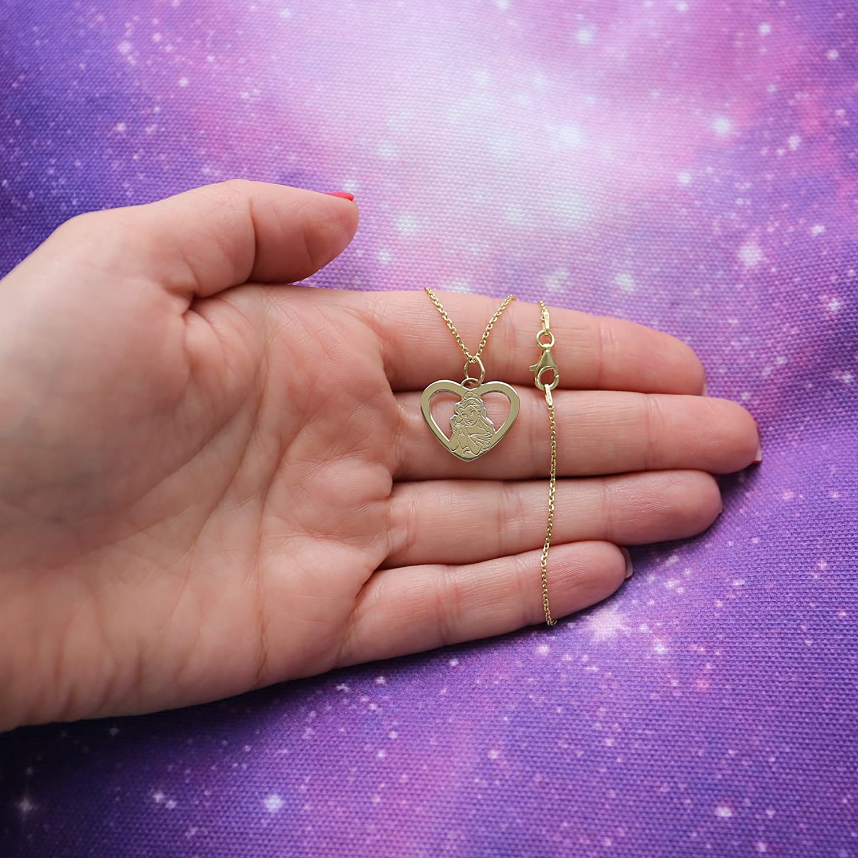 Amazon.com: Disney Gold Tone Silver Princess Belle Heart Pendant ...