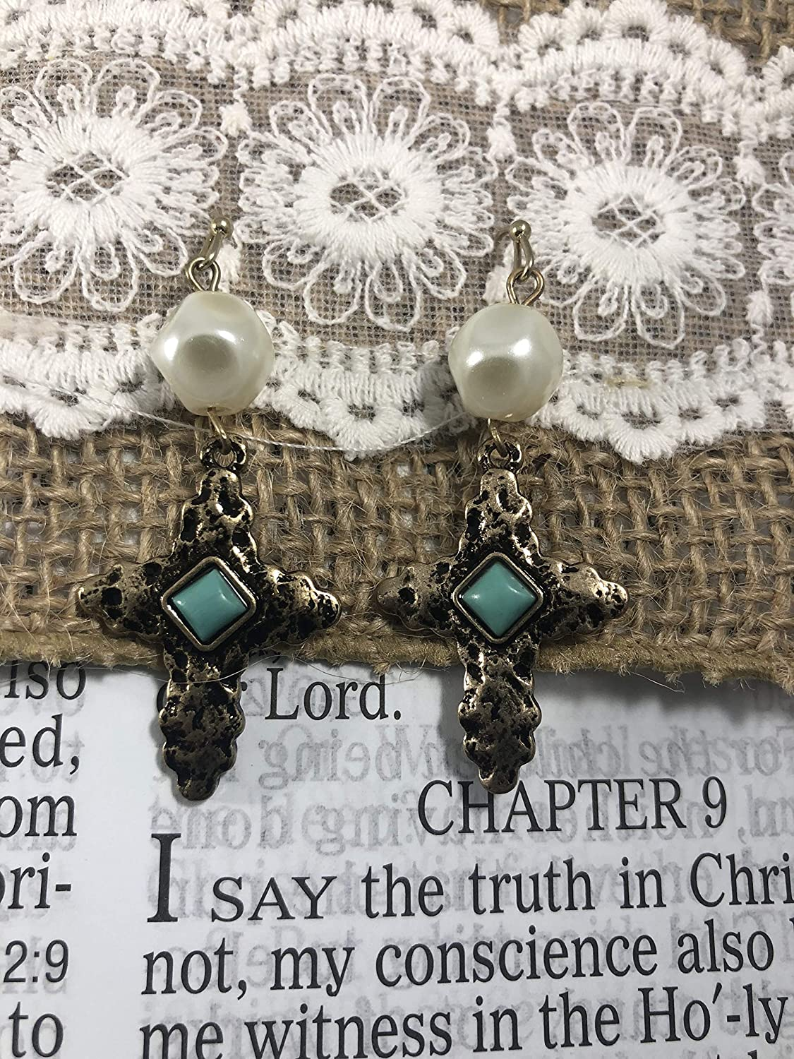Hammered Gold Cross Earrings with Turquoise Center Stone and Pearl Accent NoraJae Gems Cross Earrings