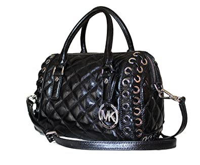 4f2873d81b77 Michael Kors Sophie Hippie Grommet Small Quilted Black Leather Top Zip  Satchel  Handbags  Amazon.com