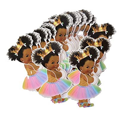 Rainbow Princess Party Cut-Outs, African American Unicorn Princess Decor for Royal Birthday Baby Shower: Health & Personal Care