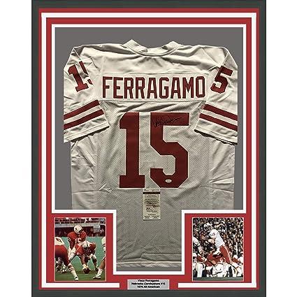 e63321f7e97 Framed Autographed Signed Vince Ferragamo 33x42 Nebraska Cornhuskers White  College Football Jersey JSA COA