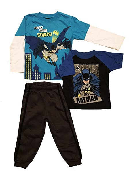 Batman Toddler Boys Vest /& Top 3pc Pant Set Size 2T 3T 4T