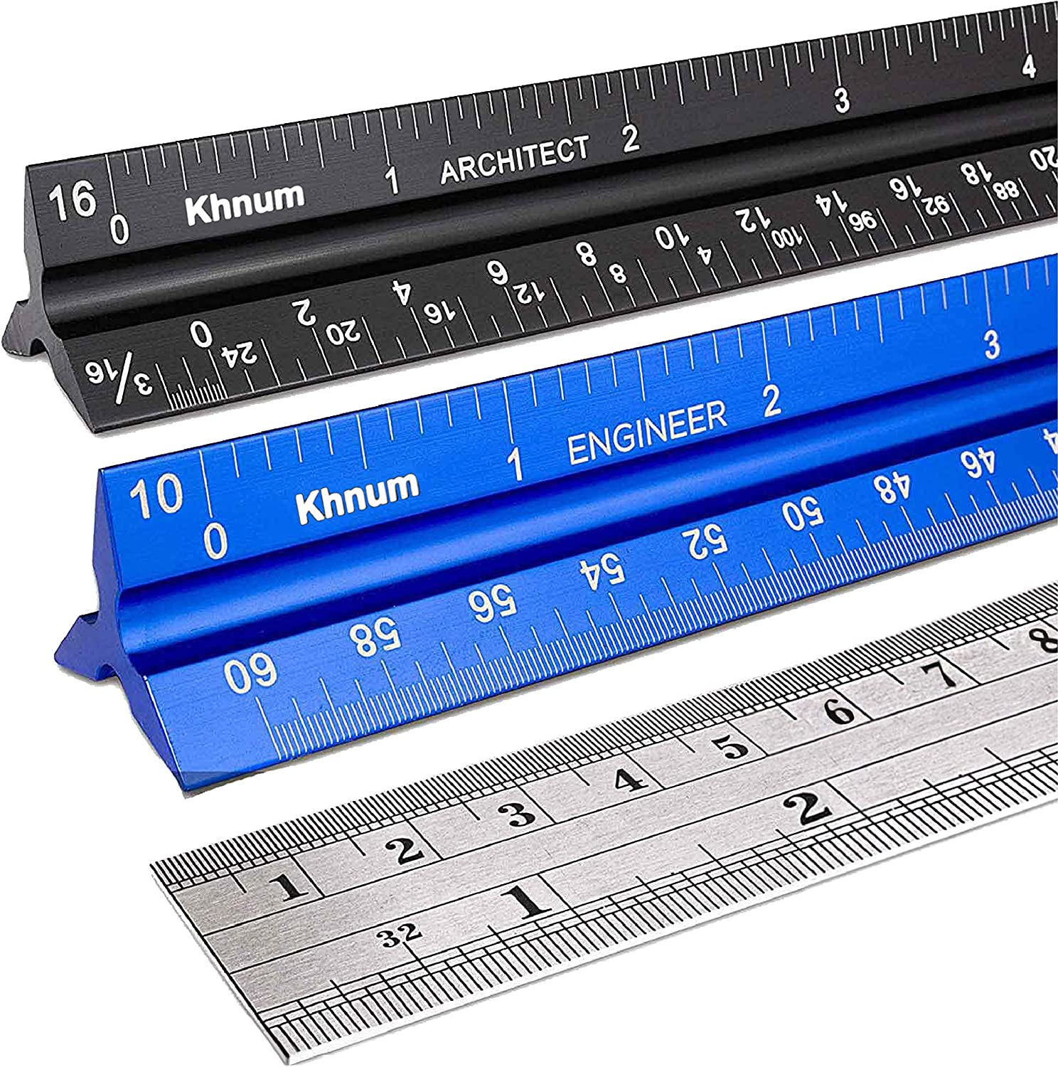 12-Inch Architectural and Engineering Scale Ruler Set (Imperial) | Laser-Etched Aluminum Triangular Drafting Tool | for Architect and Civil Engineer Blueprints | Standard Metal Ruler Included