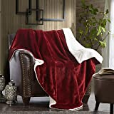 "Merrylife Decorative Sherpa Throw Blanket Ultra-Plush Comfort | Soft, Colorful | Home, Couch, Outdoor, Travel Use (60""70"", BURGUNDY)"