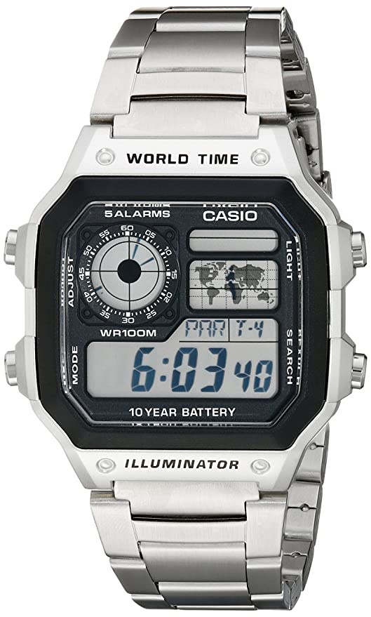 6210ea77a071 Amazon.com  Casio Men s AE1200WHD-1A Stainless Steel Digital Watch  Casio   Watches
