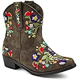 Girls' Betseyville Reece Floral Embroidered Cowboy Boots - Stone (6)