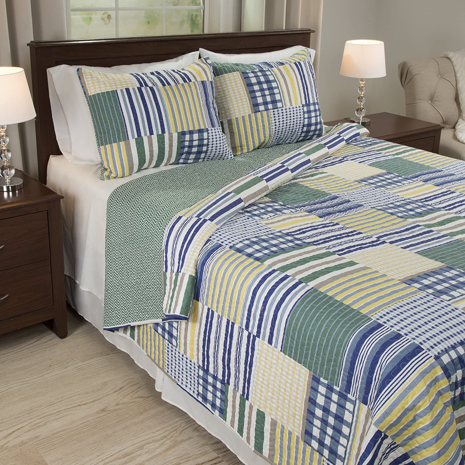 Bedford Home Lynsey 3 Piece Quilt Set - Full/Queen