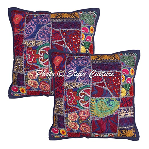 Stylo Culture Indian Throw Pillow Covers Azul Vintage ...