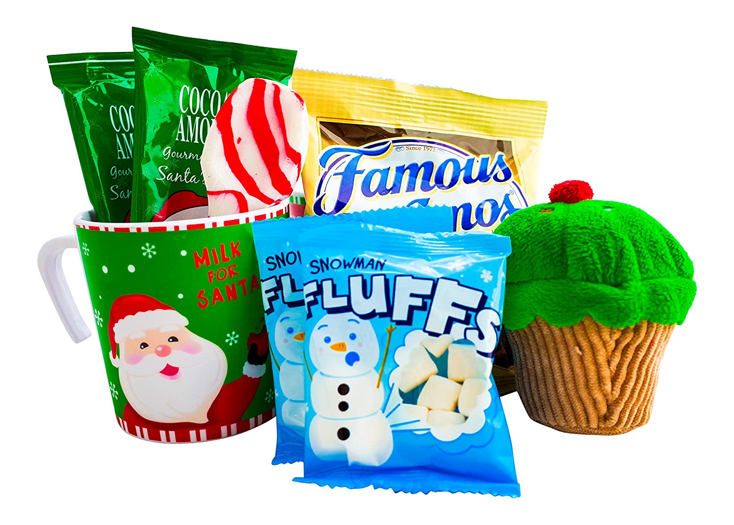 Christmas Hot Cocoa and Cookies Gift For Kids With Mug, Hot Chocolate, Marshmallows, Cookies, Xmas Plush, and a Candy Cane Spoon - Best Gift Idea For Children or Grandchildren(Santa)
