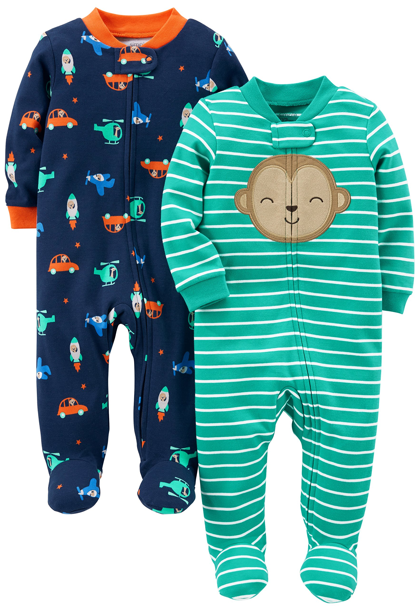 Simple Joys by Carter's Baby Boys' 2-Pack Cotton Footed Sleep and Play, Monkey/Vehicles, 3-6 Months by Simple Joys by Carter's