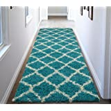 "Ottomanson Ultimate Shaggy Collection Moroccan Trellis Design Contemporary Hallway & Kitchen Shag Runner Rugs, Turquiose Blue, 2'7"" L X 8'0"" W"