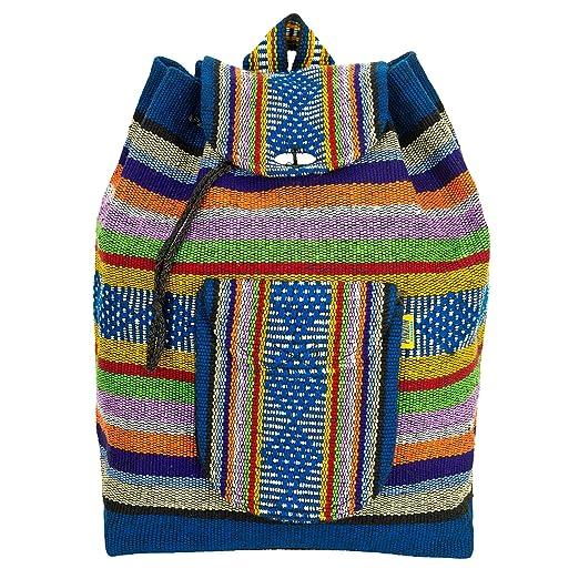 Amazon.com | PINZON Large Unisex Hippie Backpack Woven Canvas Rucksack Drawstring Mexican Baja Boho Aztec Girls School Bags Boys Foldable Bag Casual Daypack ...