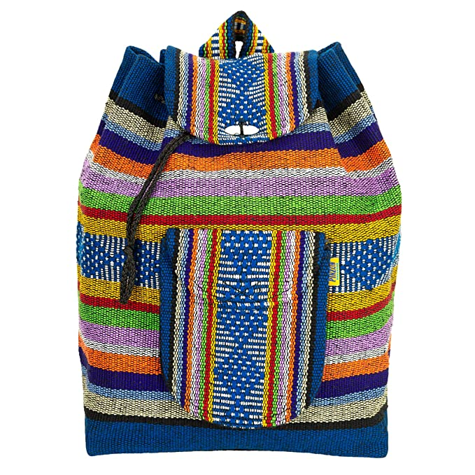 Amazon.com | PINZON Large Unisex Hippie Backpack Woven Canvas Rucksack Drawstring Mexican Baja Boho Aztec Girls School Bags Boys Foldable Bag Casual Daypack ...