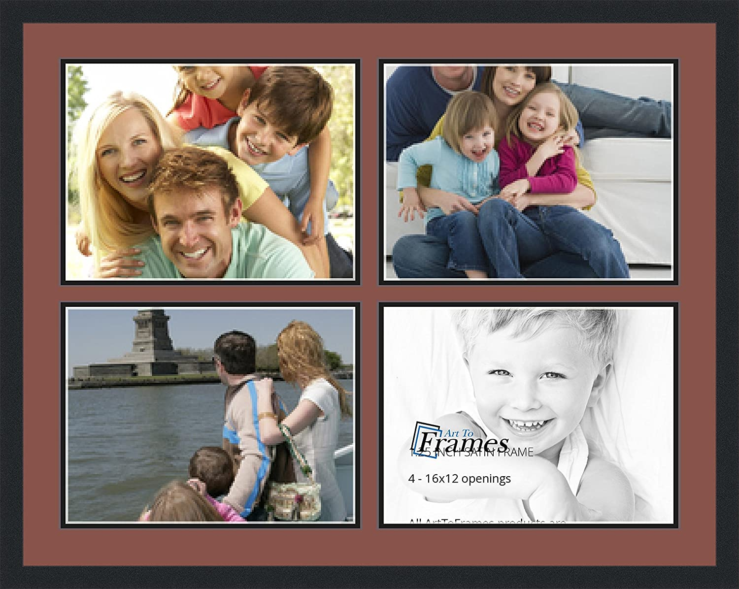 Satin Black 1.25-Inch Wide Art to Frames Double-Multimat-1601-760//89-FRBW26079 37 by 29-Inch Picture Frame