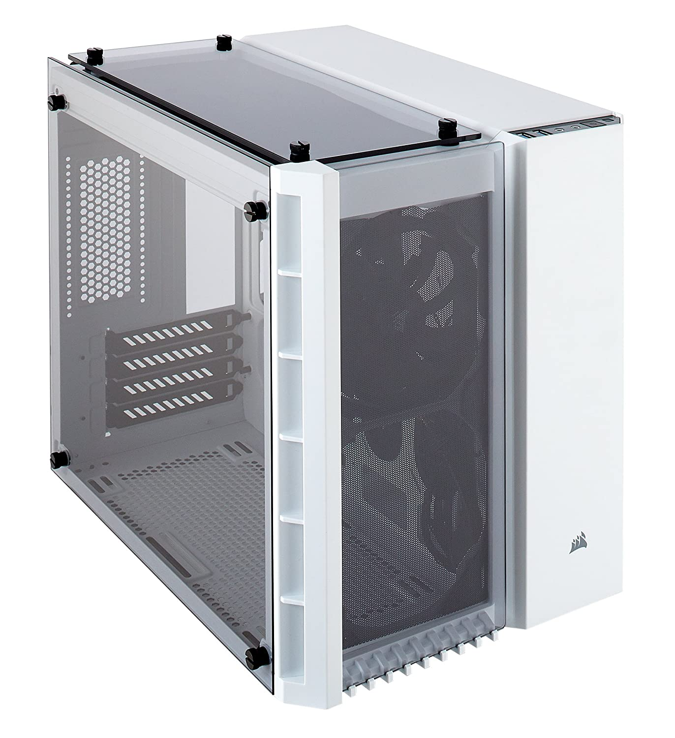 Corsair CC WW 280X Crystal Tempered Glass Micro ATX PC Case White Amazon puters & Accessories
