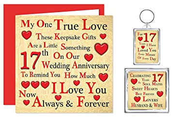 Our 17th Wedding Anniversary Gift Set Card Keyring Fridge